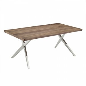 Stark Modern Stainless Steel Dining Table Walnut