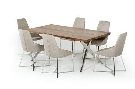 Stark Modern Stainless Steel Dining Table Walnut
