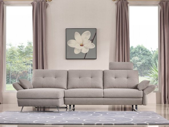 Divani Payne Modern Fabric Sectional Sofa Gray