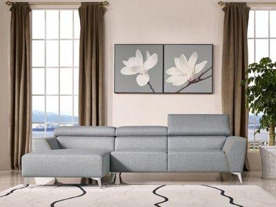 Divani Casa Sawtelle Left Extended Sectional Sofa Gray