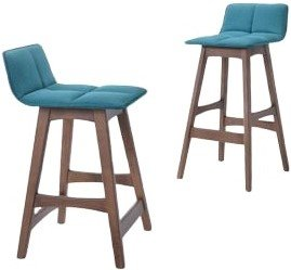 Candice Modern Bar Stool Teal And Walnut (Set of 2)