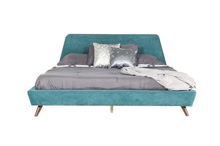Lewis Mid Century Modern Queen Bed Teal