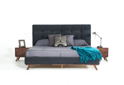 Addison Mid-Century Modern Queen Bed Gray