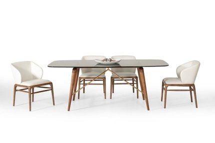 Modrest Kipling Modern Dining Set For 6 Walnut