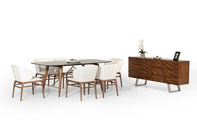 Modrest Kipling Modern Dining Set For 6 Walnut