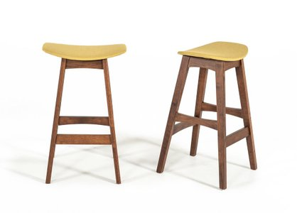Modrest Steed Modern Bar Stool Yellow And Walnut (Set of 2)