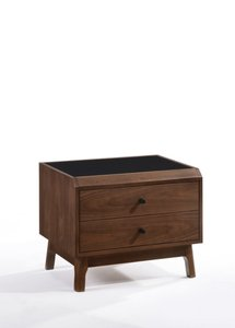 Gibson Modern Walnut & Black Glass Nightstand