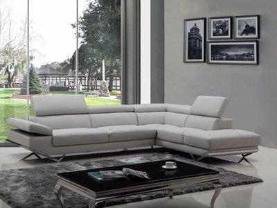Divani Casa Quebec Sectional Sofa Light Gray