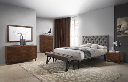 Rent Modrest Gibson Modern Queen Bedroom Set Gray And Walnut Bedroom Sets Los Angeles Casaone
