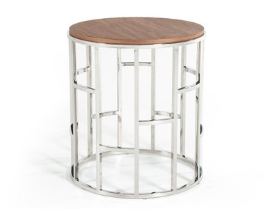 Modrest Silvia Modern Stainless Steel End Table Walnut
