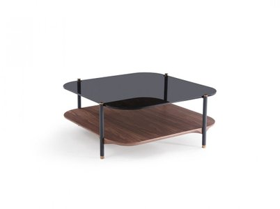 Modrest Toby Modern Coffee Table Smoked Glass & Walnut