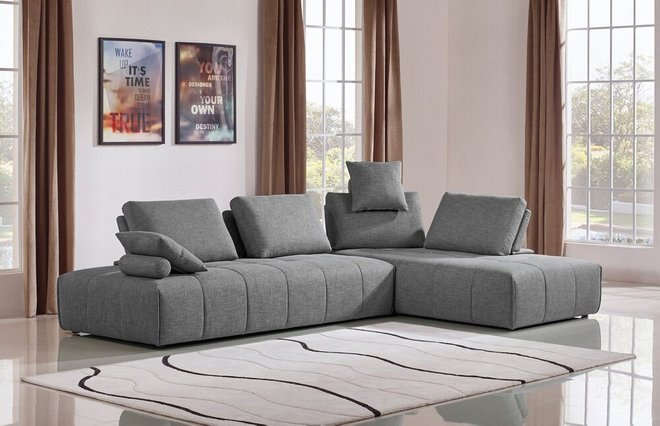 Divani Casa Edgar Modular Reversible Sectional Sofa Fabric Gray