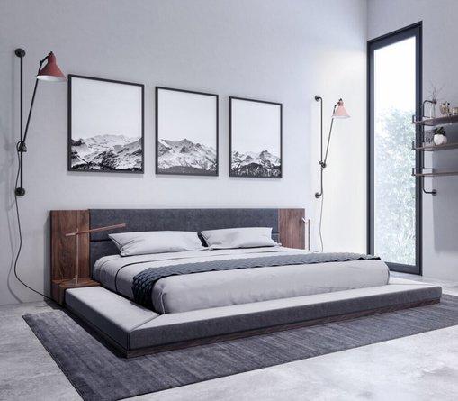 Nova Domus Jagger Queen Bed Dark Gray And Walnut