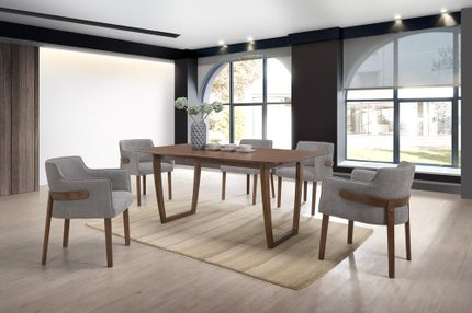 Modrest Jordan Modern Dining Set For 6 Walnut & Gray