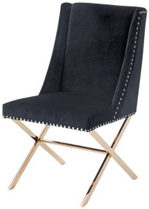 Alexia Dining Chair Black & Rosegold