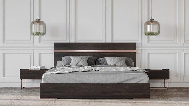 Benzon Italian Modern Queen Bed Dark Rovere