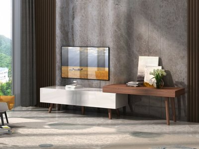 Noelle Modern TV Stand White & Walnut