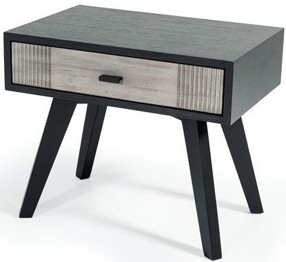Panther Contemporary Nightstand Gray & Black