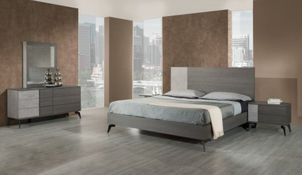 Palermo Italian Modern Faux King Bed Gray
