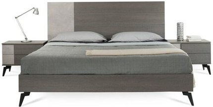 Palermo Italian Modern Faux King Bed Gray