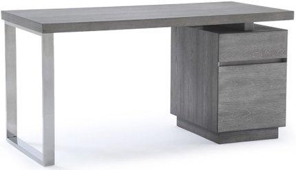 Modrest Carson Modern Desk Gray Elm And Stainless Steel