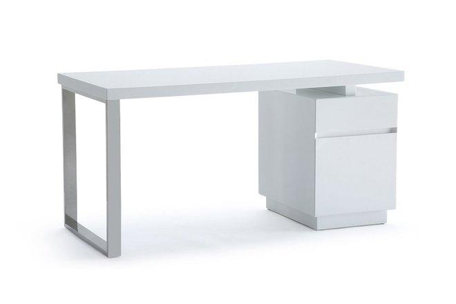 Carson Modern White & Stainless Steel Desk