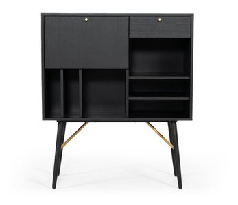 Modrest Billy Modern Tall Buffet Black Oak And Gold