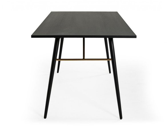 Modrest Billy Modern Dining Table Black Oak & Gold
