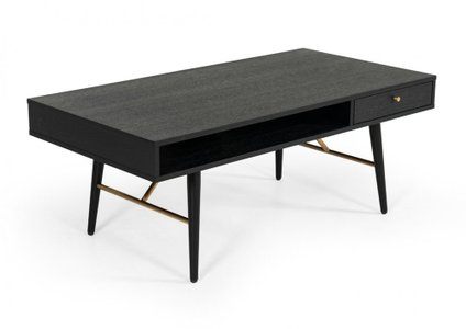 Modrest Billy Modern Coffee Table Black Oak & Gold