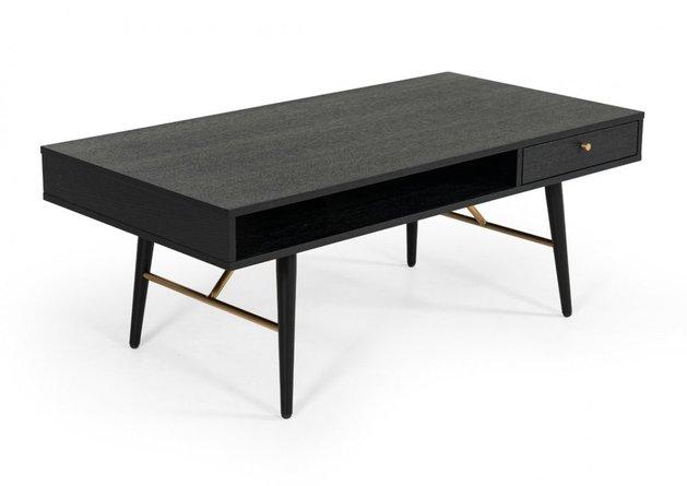 Modrest Billy Modern Coffee Table Black Oak & Gold