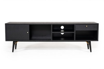 Modrest Billy Modern TV Stand Black Oak & Gold