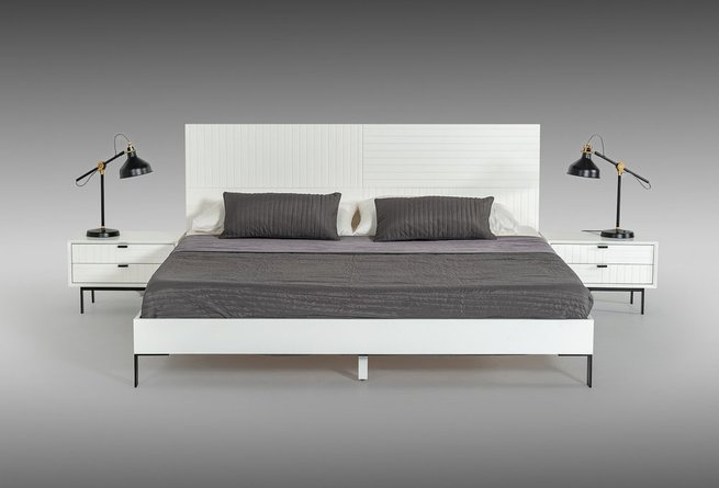 Valencia Contemporary Queen Bed White