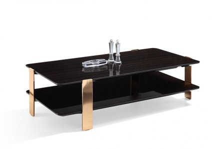 Modrest Leroy Coffee Table Ebony And Rose Gold