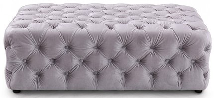 Divani Casa Spiegel Transitional Velvet Tufted Ottoman Light Gray