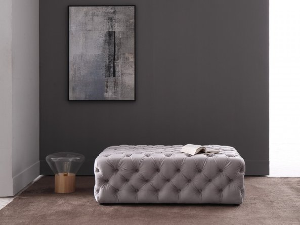 Divani Casa Spiegel Transitional Velvet Tufted Ottoman Light Gray