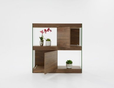 Modrest Aura Square Cabinet Walnut And Glass
