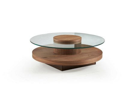 Hector Modern Round Coffee Table Walnut