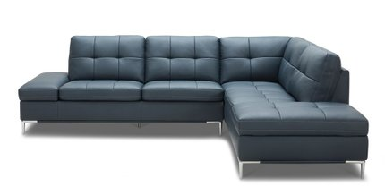 Divani Casa Lariat Modern Sectional Sofa Blue Eco-Leather