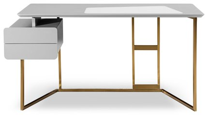 Modrest Deegan Modern Desk Gray And  Bronze