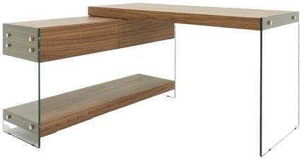 Modrest Laxson Modern Desk Walnut And Glass
