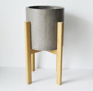Modrest Polk Concrete Round Planter Dark Gray
