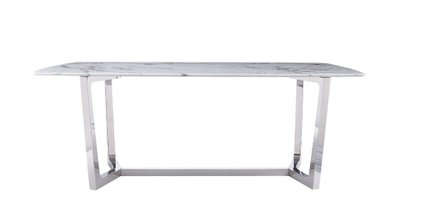 Modrest Garrett Faux Marble And Stainless Steel Dining Table White