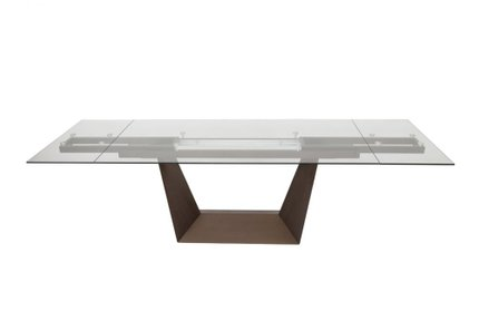 Modrest Baldwin Glass Extendable Dining Table Clear