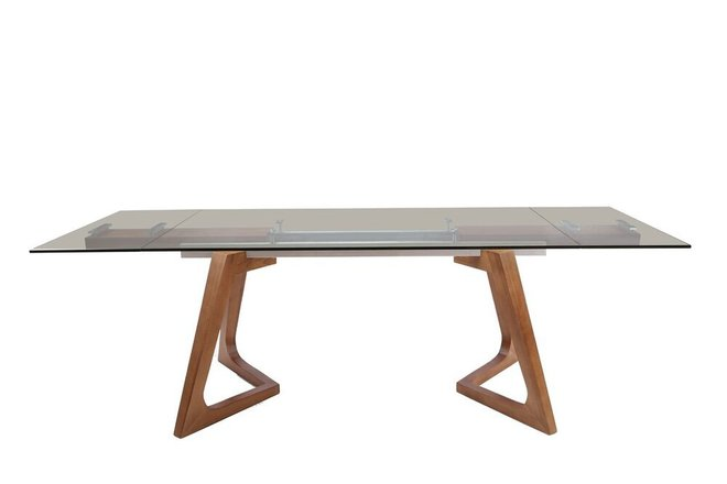 Modrest Ruthie Extendable Dining Table Smoked Glass And Walnut