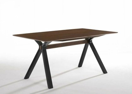 Modrest Runyon Modern Dining Table Walnut & Black