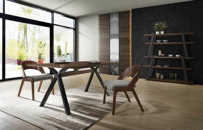 Modrest Runyon Modern Dining Table Walnut & Black