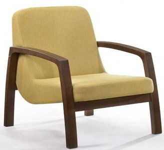 Modrest Bronson Mid-Century Accent Chair Yellow And Walnut