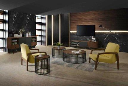 Bronson Mid-Century Modern TV Stand Walnut & Gray
