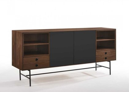 Modrest Bronson Mid-Century Buffet Walnut And Gray