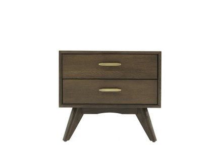 Novak Modern Dark Oak Nightstand Dark Gray